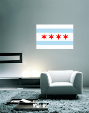 "Chicago Illinois Flag Wall Decal Large Vinyl Sticker 25"" x 17"""