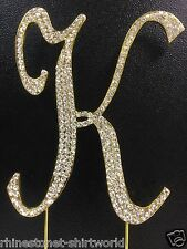 "GOLD Plated Rhinestone  Monogram Letter ""K""  Wedding Cake Topper  5"" inch high"