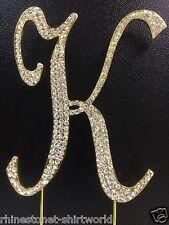 "GOLD Plated Rhinestone  Monogram Letter ""K""  Wedding Cake Topper  5"" inch high"