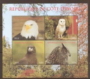 IVORY COAST 2011 OWLS BIRDS OF PREY  SHEETLET  MNH