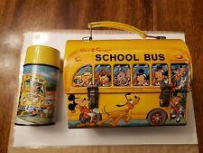 Vintage walt Disney Dome lunch box,School bus. metal with thermos Nr-Mt.