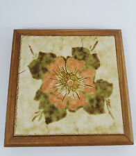 Vintage Large Wooden Frame and Tile Flower Design Trivet Pot Stand