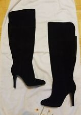LANE BRYANT OVER-THE-KNEE BLACK SUEDE WIDE CALF WIDE WIDTH BOOTS SIZE 9 NEW