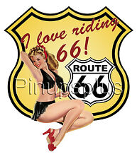 Sexy Blond Pinup Girl Waterslide Decal Sticker Route 66 America's Highway S925