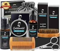 GoldWorld Beard Grooming Kit w/Beard Oil,Beard Balm,Beard Brush,Beard Comb,etc.