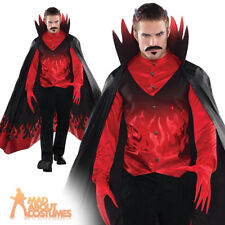 Diablo Devil Halloween Costume Scary Adult Mens Fancy Dress Fire Demon Cape