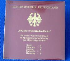 """""""50 Jahre SOS-Kinderdörfer"""" 5 x 10 DM PP  2001 im Folder, Top!! Silber 925!!"""