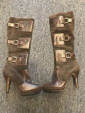 Max Studio brown leather And Suede Knee  high Tall boots, size 6 M women