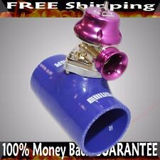 """3"""" BLUE Silicone Type S Adapter+Type S BOV fits Acura BMW Toyota Mitsubishi"""