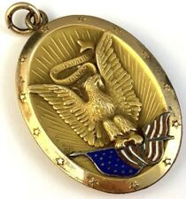 VICTORIAN LOCKET NECKLACE PENDANT AMERICAN EAGLE ENAMEL FLAG E PLURIBUS UNUM