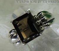 9.5 x 8mm SMOKEY QUARTZ Sterling Silver 925 Estate COCKTAIL ENGAGEMENT RING sz 9