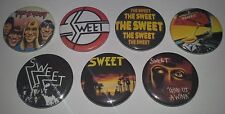 7 The Sweet Pin Button badges 25mm T Rex Glam rock Give us a wink off the record