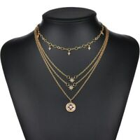 Choker Crystal Gold Color Jewelry Chain Multilayer Star Women Necklace Fashion