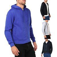 Mens Plain Basic Zip Up Fleece Hoodie Hooded Cotton Sweatshirt Jacket Sport Top