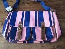 LYDC LARGE PINK AND BLUE SATCHEL SCHOOL UNIVERSITY OIL CLOTH BRAND NEW WITH TAGS