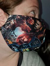 Homemade Fabric Reusable Face Mask washable Horror Film Collage SAME DAY