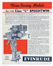 1938 Evinrude Class C Speediwin Boat Racing Motors brochure