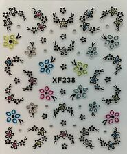 Nail Art 3D Decal Stickers Beautiful Flowers with Colorful Rhinestones XF238