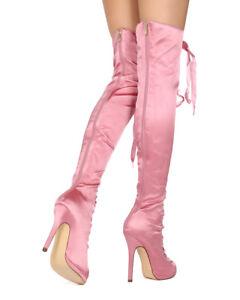 New Women Liliana Opus-1B Satin Thigh High Peep Toe Lace Up Stiletto Boot