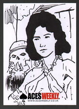 Chris Geary Signed Original Comic Art Sketch Card Aces Weekly Woman w/ Skull
