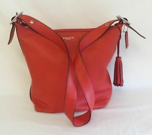 Coach 19889 Legacy Tomato Red Leather Duffle Purse