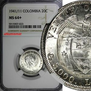 Colombia Silver 1941/11 20 Centavos OVERDATE NGC MS64+ TOP GRADED KM# 197 (23)