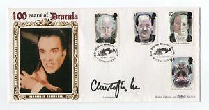 SIR CHRISTOPHER LEE 1922-2015 Dracula-Hammer Horror films. Signed Benham cover