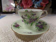 AYNSLEY Tea Cup &  Saucer Lime Green Violets England Bone China Teacup