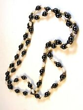 """Freshwater White Pearl and Hematite 30"""" Necklace"""