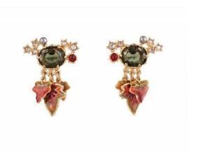 Les Nereides 18K GP MAPLE LEAVES & Crystal Drop Stud Earrings