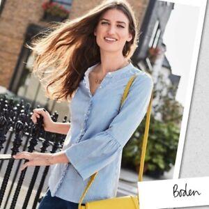 BODEN // Size 20 18 // Blue & White Stripe Bell Sleeve Shirt Blouse