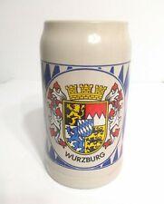 "Vintage German Wurzburger Stein Mug Pottery 7.5"""