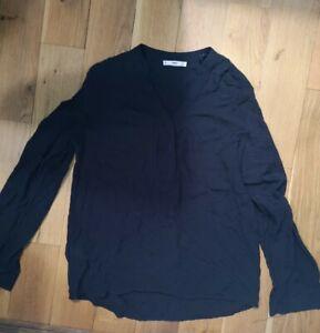 Blouse 8/10 MNG Dark blue self Spot Long Sleeve relaxed fit shirt cotton feel
