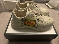 Gucci Rhyton Logo Leather Sneaker Ivory White Green Red Men's  US Size 10