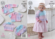 King Cole Baby DK Double Knitting Pattern Lacy Detail Sweaters & Cardigans 4673