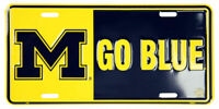 Michigan Wolverines M Go Blue  Embossed Metal License Plate Sign