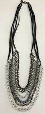 Ann Taylor LOFT Multi Strand Beaded Blue Gray Mixed Beads Statement Necklace 32""