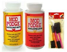 Mod Podge Gloss and Matte 16 oz twin pack Glue Sealer with free set 4 foam brush