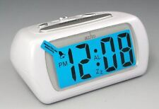 Acctim White Auric Alarm Clock Blue LCD Battery Operated Digital Lighted