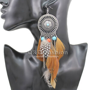Vintage Dream Catcher Feather Coral Turquoise Bead Navajo Zuni Style Earrings