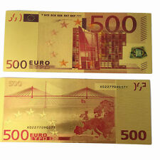 10Pcs Novelty Coloured 1:1 Euros 500 Banknotes Gold Foil Money Collections Yz