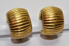 Signed CHR DIOR Goldtone Polished Half HOOP Shape Clip-On Earrings