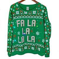 Freeze Womens XXL Fa La La La Light Up Green Ugly Christmas Sweater Sweatshirt