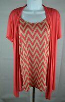 Agenda Women's Career Blouse Size Medium Scoop Neck Short Sleeve Pink(item #381)