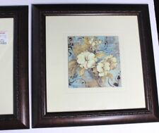 """Pair of Framed Floral Wall Prints Yellow Teal Home Goods Turtle Frame 14"""" square"""