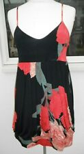 BLACK & RED FLORAL STRAPPY DRESS, SIZE 16, NEW LOOK