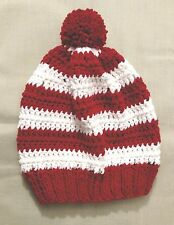 Handmade Knit/crochet Hat/beanie - white and red stripes