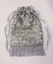 Hand Made Silver Grey Brocade Drawstring Evening / Wedding / Prom Hand bag