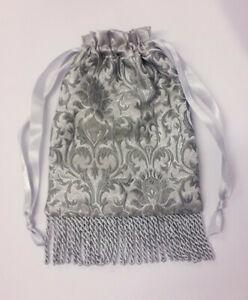 Hand Made Silver Grey Brocade Drawstring Evening / Wedding / Prom Hand bag