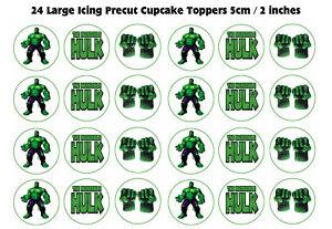 24 Large ICING The Incredible Hulk Cupcake Toppers precut edible image 5cm